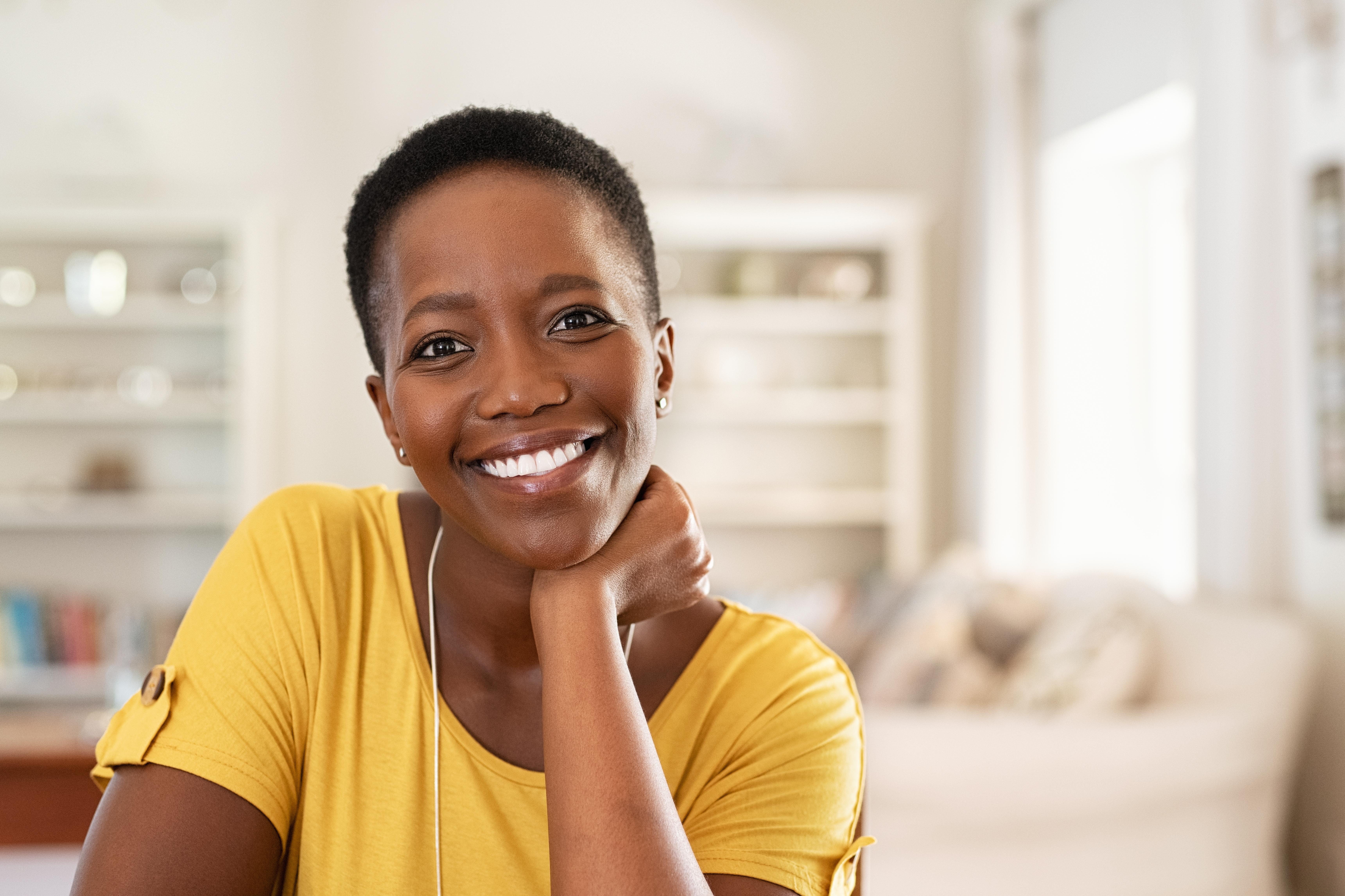 Cheerful mature black woman
